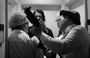 Todd SPENCE as Andy Warhol, RØB SEVERSON as Edgar Allan Poe, Dick GEORGE as Thomas Edison, and Bill PARMENTIER as Orson Welles--discussng Orson's assault rifle