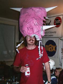 Dan as Mother Brain at the Nintendo character themed POUR CHAQUE «NON» wrap party, 16 July 2005