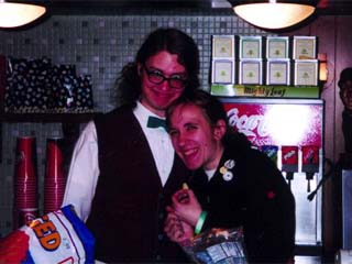 Courtney hangin' with RØB SEVERSON behind the concession counter at the Hi-Pointe Theatre