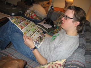 RØB reading comics on a break from catching pneumonia