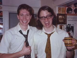 Alex and RØB on Mid-Year's Eve, 2003, unwittingly having worn nearly the same shirt