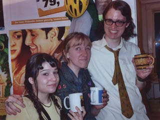 Courtney with Bobbi Jo LEYKAM and RØB SEVERSON at the Pancake Productions HQ Mid-Year's Eve Party, 2003